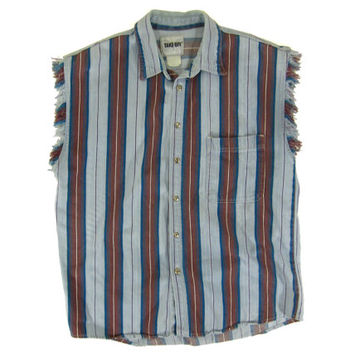 Vintage Cut-Off Sleeveless Denim Shirt - Button Down, 80's, Striped, Light Blue, Navy, Red, Denim - Men's Size Medium Med M