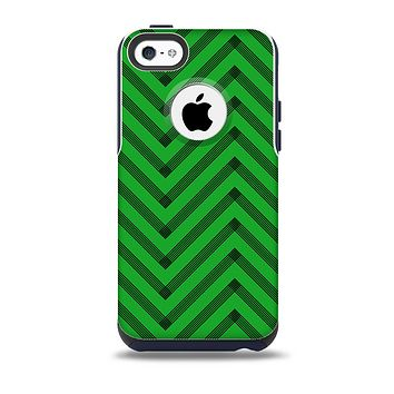 The Green & Black Sketch Chevron Skin for the iPhone 5c OtterBox Commuter Case
