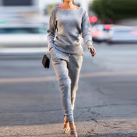 Women Casual Solid Color Concave Stripe Long Sleeve Round Neck Sweater Trousers Set Two-Piece Sportswear