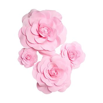 "Set of 4 Large Foam Rose Flower Heads in Pink - 7.5-19"" Blooms"