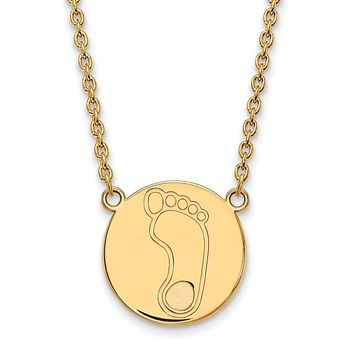 NCAA 14k Gold Plated Silver North Carolina Large Disc Necklace