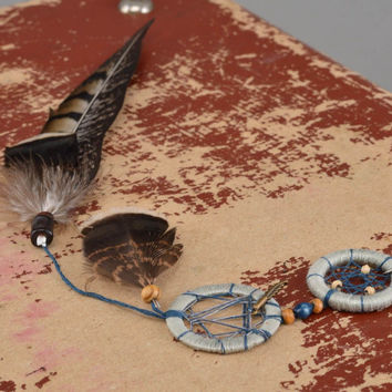 Long unusual handmade Dreamcatcher amulet in shape of keychain with feathers