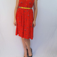 Vintage 70s 80s Red Orange Cotton Floral Print Midi 50s Style Dress Summer Sundress Size Small Medium Boho Hipster Party Beach Folk Indie