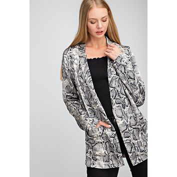 Snake Print Open Front Blazer - Grey ONLY 1 SMALL LEFT
