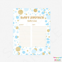 Blue and Gold Baby Shower Gift List - Printable Gift List Baby Shower Gifts - Boy Baby Shower Gift List / INSTANT DOWNLOAD / CB0003-bg