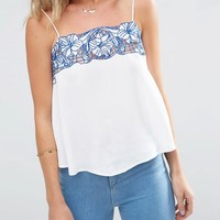 ASOS Pretty Sun Top With China Blue Embroidery