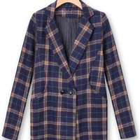 Plaid Woolen Women Outerwear Casual Winter Long Sleeve Coat