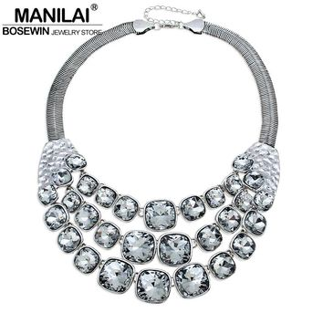 MANILAI Vintage Metal Glass Bead Chunky Chain Big Choker Necklace Women Accessories Chunky Collares Statement Necklaces Collier