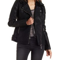 Black Faux Fur & Leather Moto Jacket by Charlotte Russe