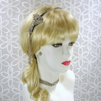 Flapper Headband 1920s Bride Rhinestone Jewelry Wedding Hairpiece Jeweled Headpiece Downton Abbey Great Gatsby Bride Ballroom Pageant Formal