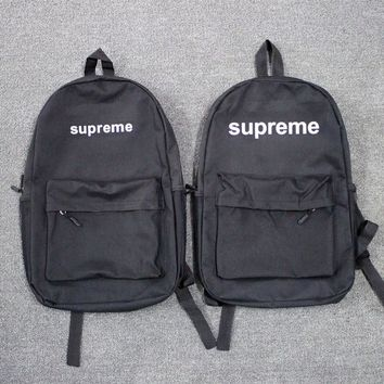 Black Supreme Backpack School Bag Travel Bag