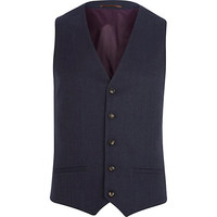 River Island MensNavy blue single breasted vest