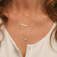 Thin Gold Chain / Dainty Set of Layered Necklaces with Bar, Triangle, Disc [9324865924]