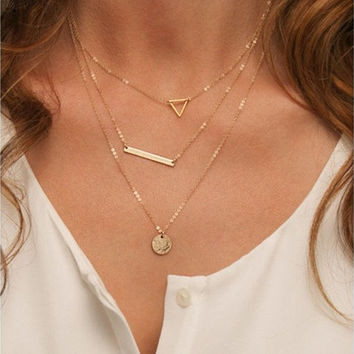 Thin Gold Chain / Dainty Set of Layered Necklaces with Bar, Triangle, Disc [8833395468]