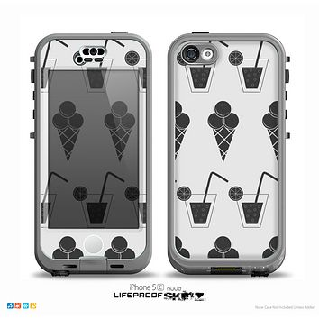 The Black and White Icecream and Drink Pattern Skin for the iPhone 5c nüüd LifeProof Case