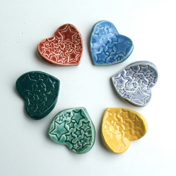 Set of Six Hand Made Ceramic ChopStick Rests, Heart Shape with Stars Stamped Into the Design