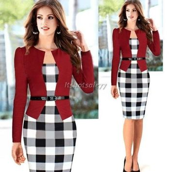 DCCKIX3 2014 Women Autumn Elegant Belted Tartan Patchwork Faux Tow Pcs Tunic Work Business Casual Party Bodycon Pencil Midi Office Dress = 1931449924