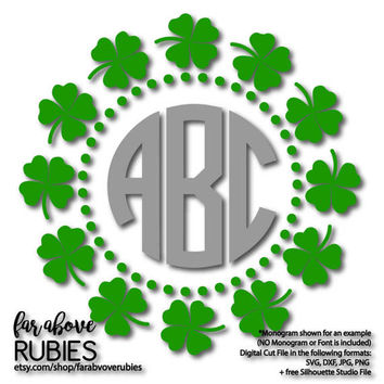 Shamrock Clover Dots Pattern Monogram Wreath (monogram NOT included) - SVG, EPS, dxf, png, jpg digital cut file for Silhouette or Cricut