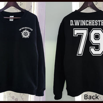 Dean Winchester Sweatshirt Shirt Gildan Supernatural 2 Colors Clothing Gray Black Grey