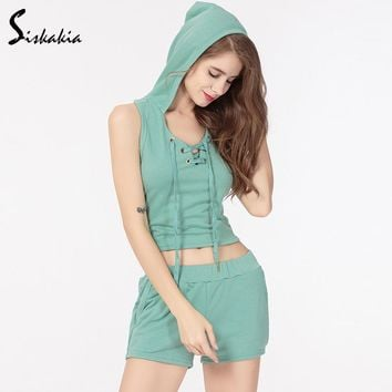 Siskakia Green 2pcs Suit Set Hooded