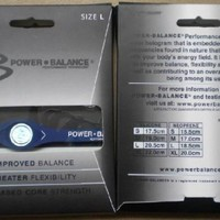 Power Balance Silicone Wristband Bracelet LARGE (Black with White Letters)