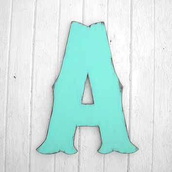 "Decorative Wooden Wall Letter 24"" ""A"" Rustic Wedding decor Guestbook Distressed Patina Monogram"