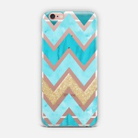 Teal & Gold Chevron iPhone Case