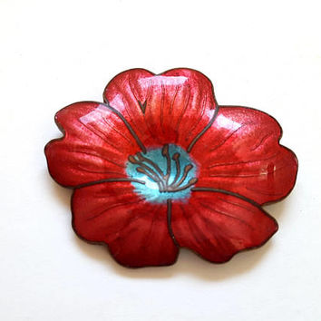 Vintage Copper Enamel Floral Brooch, Boho Jewelry, Red Turquoise  Flower Pin, 60s Costume Jewelry, Gardener's Gift