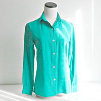 Turquoise Silk Shirt Vintage Womens Turquoise Silk Blouse Size 8