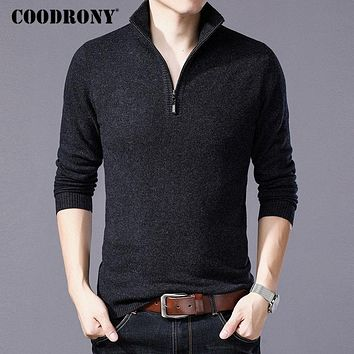 COODRONY Merino Wool Sweater Men Casual Zipper Turtleneck Pullover Men Autumn Winter