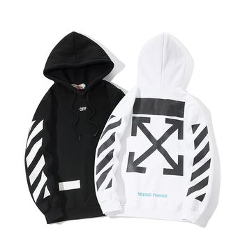 Tide brand OFF WHITE classic arrow printing hoodie white loose fleece fashion sports men's autumn and winter