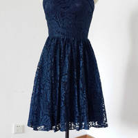 2015 A-line Sweetheart Navy Blue Lace Short Bridesmaid Dress