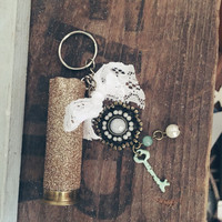 Teal and Rose Gold 12 Gauge Shotgun Shell Keychain {Lace, teal keys, pearls}