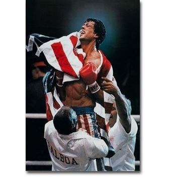 Rocky Balboa Boxing Art Silk Poster Print 13x20 24x36 inch Motivational Movie Sylvester Stallone Picture for Room Wall Decor 001