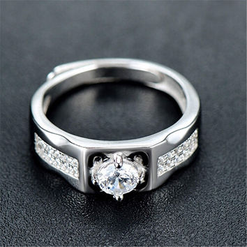 Fashion Mens Womens Unique Silver Adjustment Ring with Diamond Casual Jewelry Best Gift Rings-70