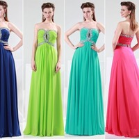 Sexy Beaded Wedding Party Ball Gown Prom Formal Evening Bridesmaid Long Dresses