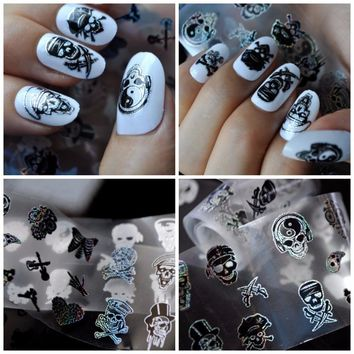 Blueness 1 Roll 4*100cm Charms 10 Different Skull Design Nails Art Tin Foil Transfer Stickers Manicure UV Gel Decals DIY JH510