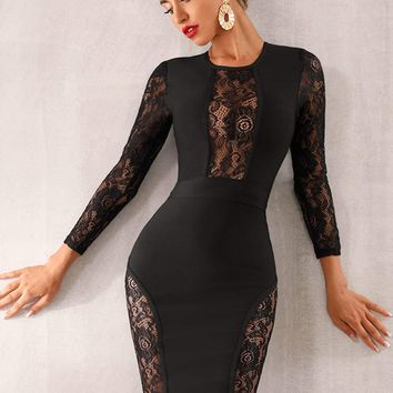 Adyce Sheer Lace Insert Midi Bodycon Dress