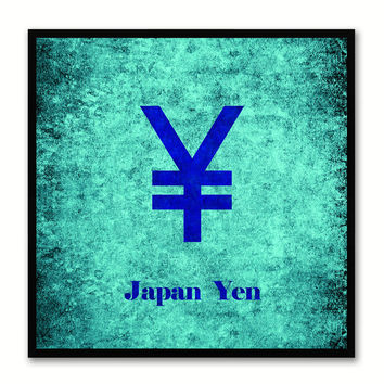 Japan Yen Money Currency Aqua Canvas Print with Black Picture Frame Home Decor Wall Art Collection Gifts