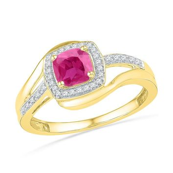 10kt Yellow Gold Womens Princess Lab-Created Pink Sapphire Solitaire Ring 1/10 Cttw 101200