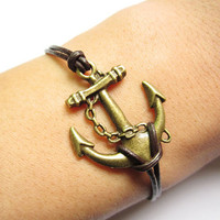 Braceletantique bronze anchor&brown leather chain by lightenme