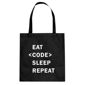 Tote Eat Code Sleep Repeat Canvas Tote Bag