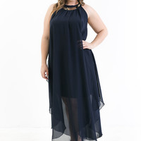 Plus Size Chase Me Chiffon Halter Dress (Navy)