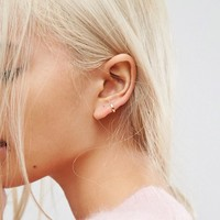 ASOS DESIGN gold plated sterling silver huggie hinged hoop earrings at asos.com