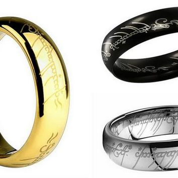 Fashion Jewelry Gold/Silver/Black Titanium Steel Charm Ring Lord of the Rin gs for men And women