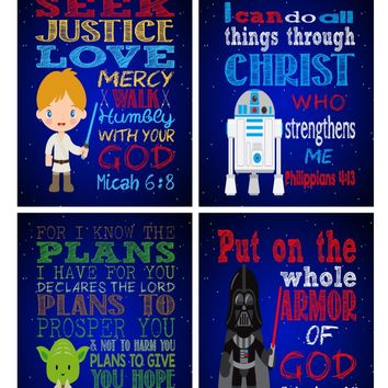 Star Wars Christian Nursery Art Decor Set of 4 Prints, Luke Skywalker, Yoda, Darth Vader and R2D2 with Bible Verses