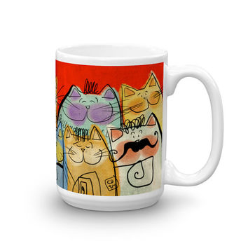 CERAMIC Mug 11/15oz - Cats - Blue or Red - Dishwasher Microwave safe - Cat Person - Gift for Her - Gift for Him