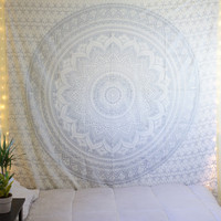 Twin Silver Glittering Color Floral Trippy Ombre Medallion Mandala Wall Tapestry on RoyalFurnish.com