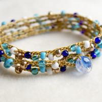 Bohemian crochet wrap bracelet, necklace, boho jewelry, white, blue, gold, cobalt, summer, trendy, boho cottage chic