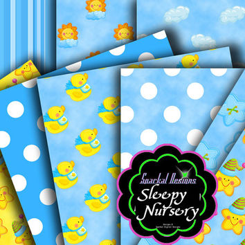 "Baby Boy Digital Paper Blue Baby PRINTABLE Party Paper, ""It's a boy"" Shower Nursery Paper INSTANT Download"